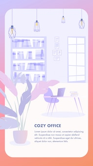 Ilustración interior cozy office business company