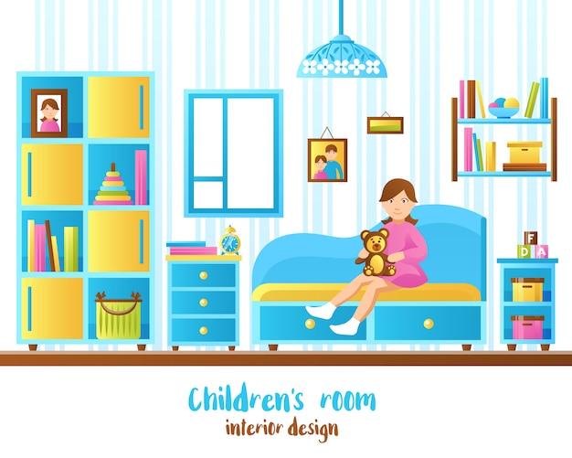 Ilustración interior del cuarto del bebé