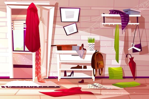 Ilustración interior desordenada del pasillo del pasillo del pasillo retro del apartamento