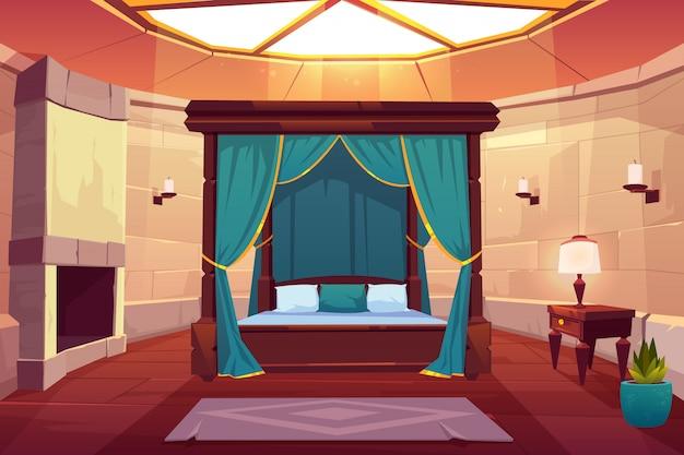 Ilustración interior de dibujos animados de dormitorio de hotel de lujo