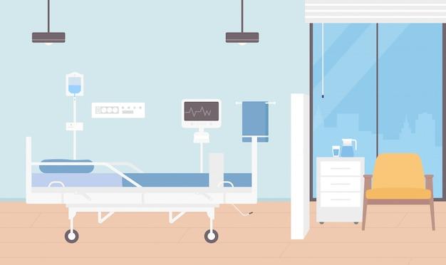 Ilustración interior de la habitación del hospital, sala vacía de dibujos animados para la hospitalización de pacientes con fondo de equipo médico moderno
