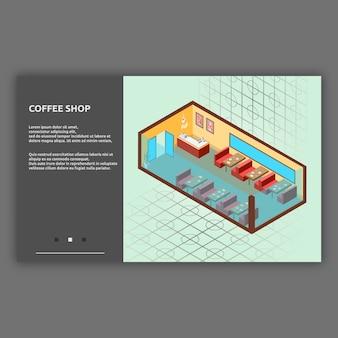 Ilustración interior isométrica de cafetería