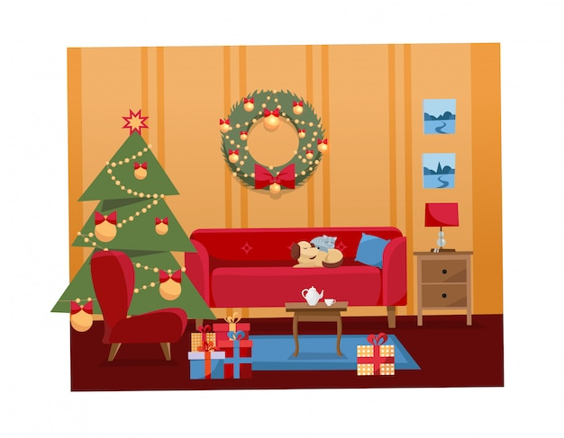 Ilustración interior de navidad de la sala de estar decorada para vacaciones