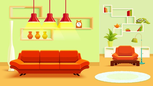 Ilustración interior de la sala de estar