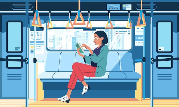 Ilustración interior del tren con mujeres jóvenes sentadas mientras leen un libro en el tren junto a la ventana