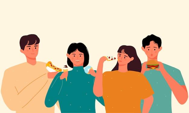 Ilustración internacional del día sin dieta. grupo de jóvenes que comen comida chatarra o comida rápida.