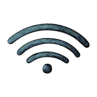 Ilustración de internet inalámbrico azul dibujado a mano