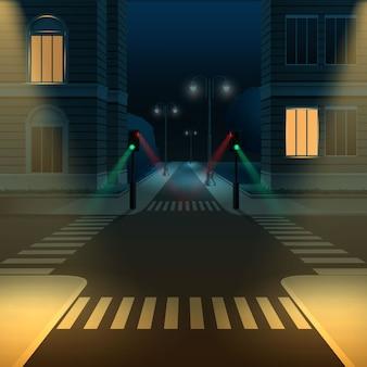 Ilustración de la intersección o cruce de calles de la ciudad con semáforos en la noche oscura