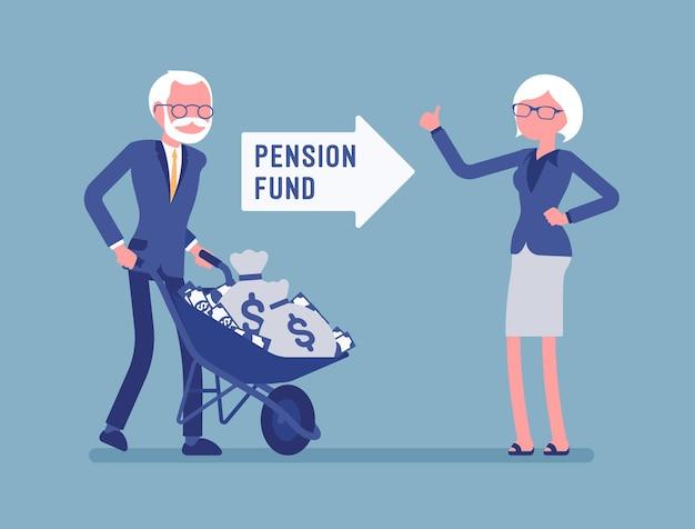 Ilustración de inversión de fondos de pensiones