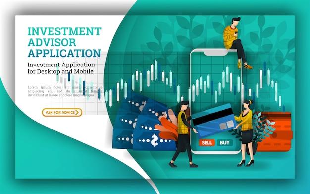 Ilustración para inversiones y asesores financieros. apps.