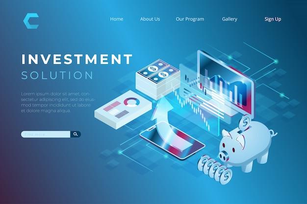 Ilustración de inversiones y soluciones financieras para aumentar los ingresos y el crecimiento económico en estilo isométrico.
