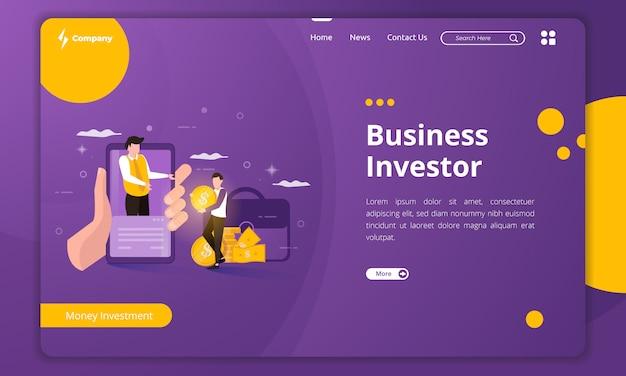 Ilustración de inversionista comercial en plantilla de página de destino
