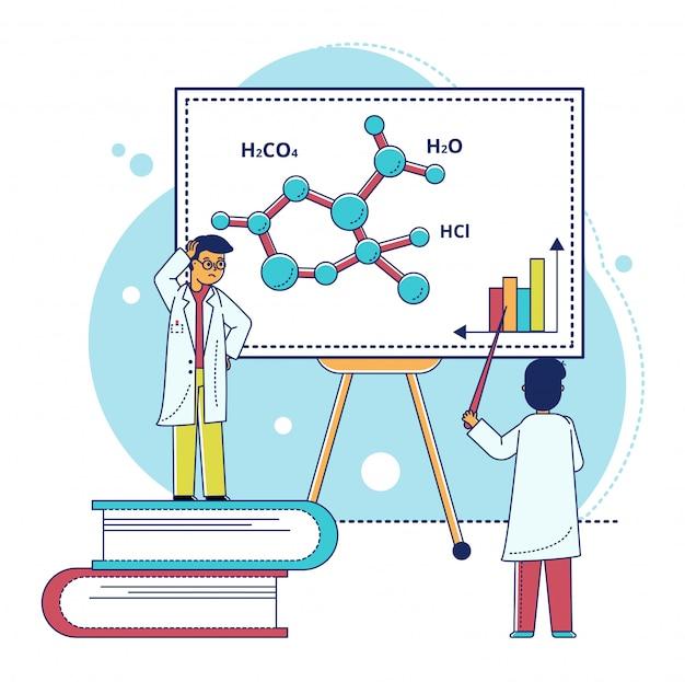 Ilustración de investigación de laboratorio de línea, pequeño personaje científico de dibujos animados trabajando, analizando la estructura molecular en blanco