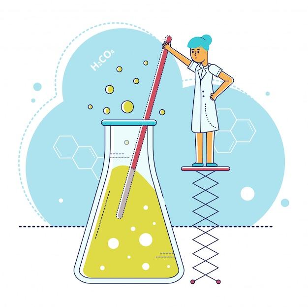 Ilustración de investigación de laboratorio de línea, personaje de científico diminuto de dibujos animados haciendo prueba de experimento en tubo de ensayo en blanco