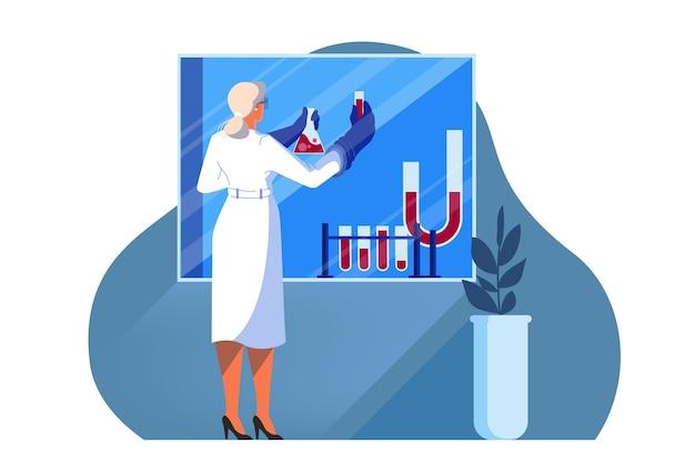 Ilustración de la investigación médica y sanitaria innovadora. concepto de tratamiento de la medicina moderna, experto, diagnóstico. entorno virtual y robótico en hospital.