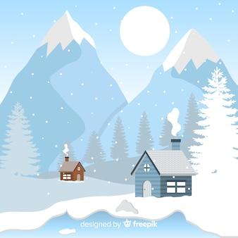 Ilustración invierno cabañas junto a las montañas