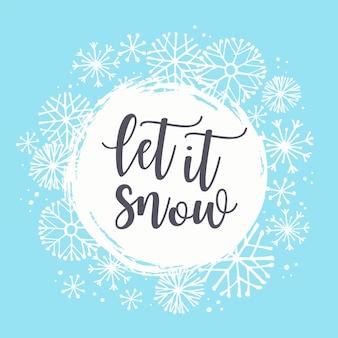 Ilustración de invierno con copos de nieve.