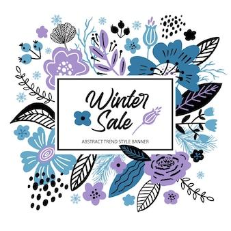 Ilustración de invierno de venta de banner floral en colores de tendencia. flores planas, pétalos, hojas y elementos de doodle.