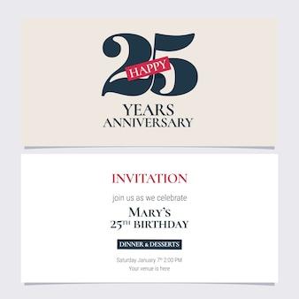 Ilustración de invitación de aniversario de 25 años.