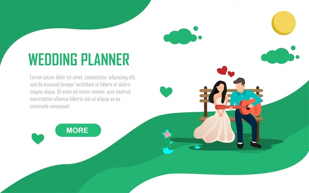 Ilustración de invitación de boda planificador romance