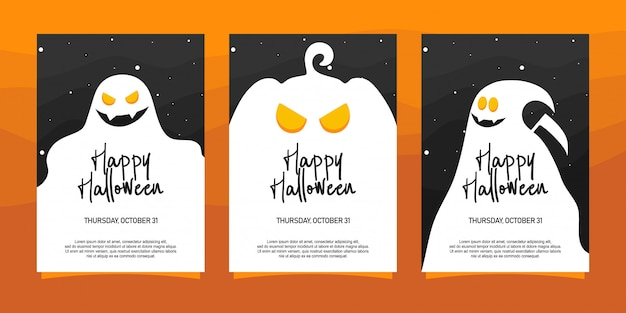 Ilustración de invitaciones de halloween feliz