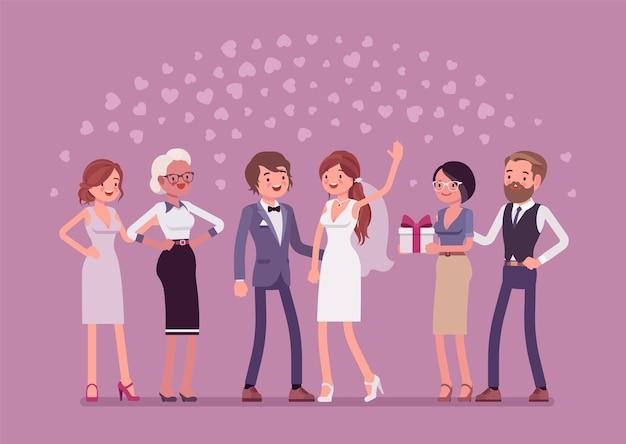 Ilustración de invitados de boda recién casados