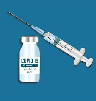 Ilustración de inyección de jeringa y botella de vacuna de coronavirus covid 19