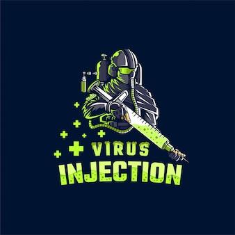 Ilustración de inyección de virus