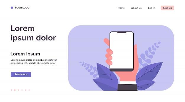 Ilustración de iphone en mano