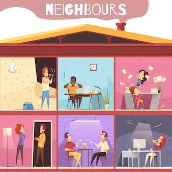Ilustración de irritación de vecinos