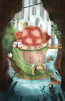 Ilustración de isla fantástica