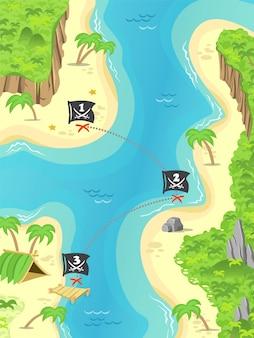 La ilustración de una isla pirata de dibujos animados y un tesoro marca una bandera de jolly rodger