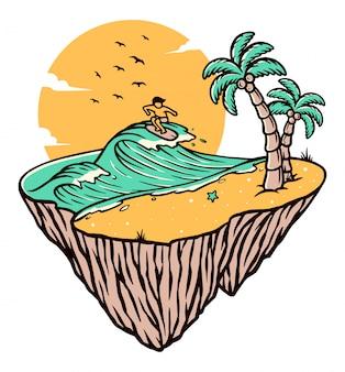 Ilustración de la isla de playa