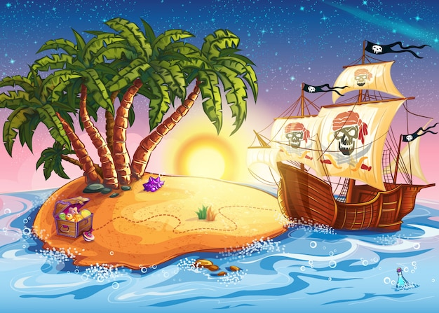 Ilustración de la isla del tesoro y el barco pirata.