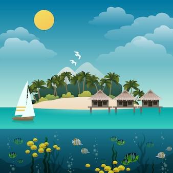 Ilustración isla tropical