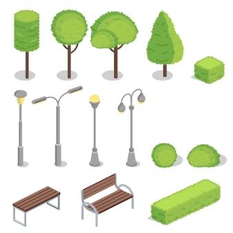 Ilustración isométrica 3d de elementos de parque