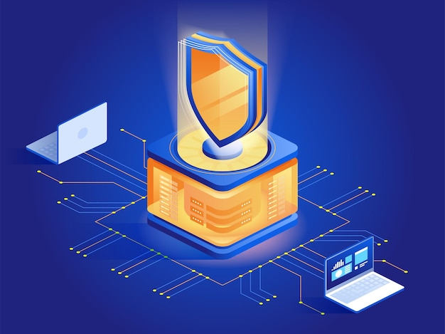 Ilustración isométrica abstracta de software antivirus. ciberseguridad, tecnología de cifrado de datos concepto 3d azul oscuro. programa de seguridad de malware. protección contra ataques de piratas informáticos, prevención de acceso no autorizado