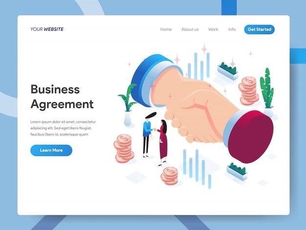 Ilustración isométrica del acuerdo comercial para la página del sitio web