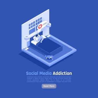 Ilustración isométrica de adicción a la red social
