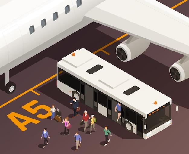 Ilustración isométrica del aeropuerto con vista exterior de personas que salen del autobús lanzadera con ala de avión