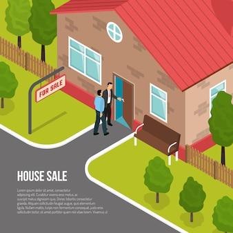 Ilustración isométrica de agencia inmobiliaria