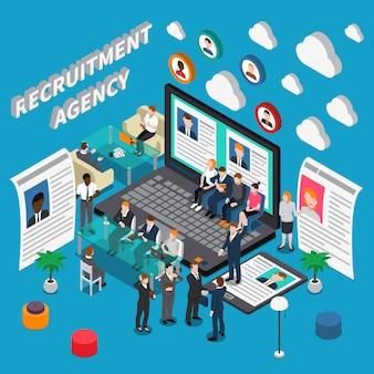 Ilustración isométrica de la agencia de reclutamiento