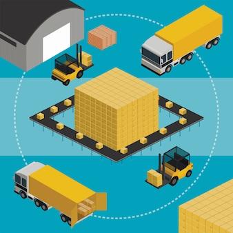Ilustración isométrica de almacén y camiones