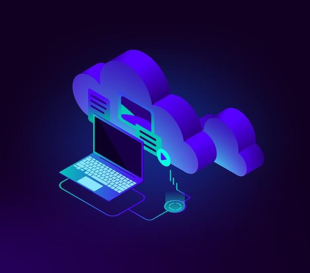 Ilustración isométrica del almacenamiento de datos en la nube