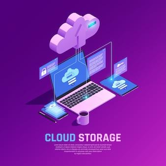 Ilustración isométrica de almacenamiento en la nube