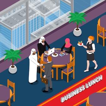 Ilustración isométrica de almuerzo de negocios de personas árabes
