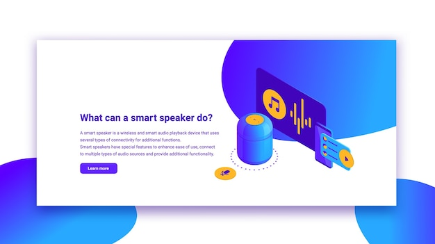 Ilustración isométrica de altavoz inteligente azul con título, control digital para sitios web y aplicaciones móviles, banner de información con asistente de voz digital
