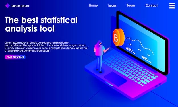 Ilustración isométrica del análisis estadístico de criptomoneda para la página de destino