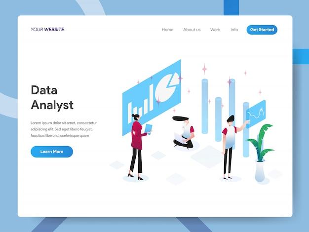 Ilustración isométrica del analista de datos para la página web
