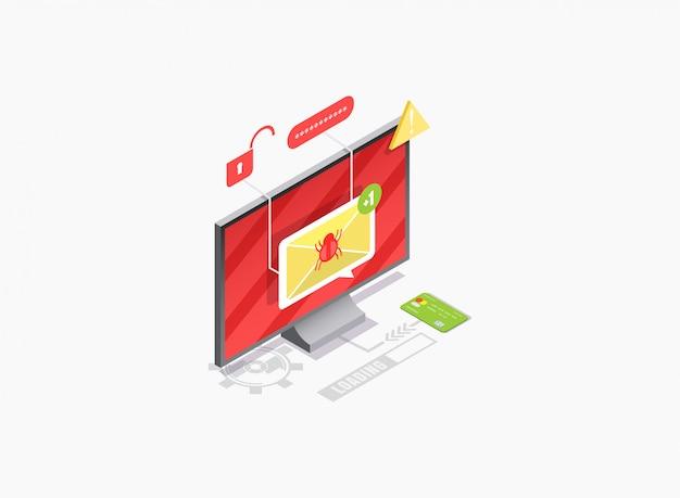 Ilustración isométrica de antivirus, seguridad informática contra malware.